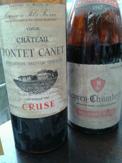 1967 burgundy versus 1966 claret - old wines and old friends